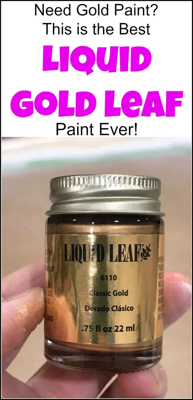 Looking for the best liquid gold leaf? Look no more. This liquid leaf is easy to use and creates a gold metallic luster to your project for an elegant touch. See how to apply gold leaf with a short video and find where to buy gold leaf paint. | liquid gold paint | gold leaf paint | liquid leaf | liquid gold leaf paint | painted furniture | painted mirror | ornate mirror | gold mirror | gold leaf painted mirror