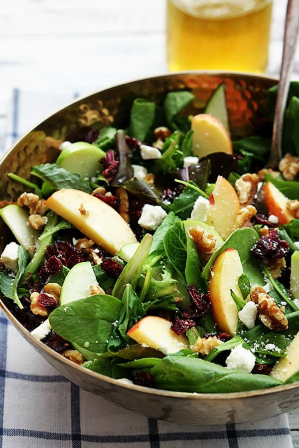 apple salad recipes, cranberry walnut salad, healthy salads
