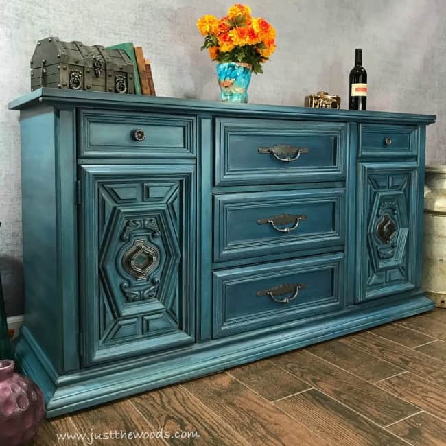 Blue Painted Furniture Vintage Buffet Ideas