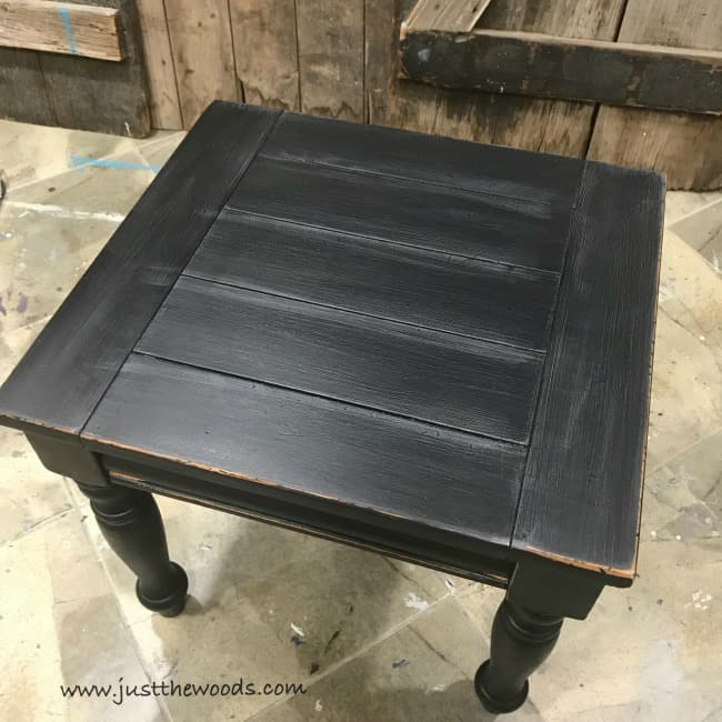 how to distress black furniture, farmhouse black furniture, black distressed furniture