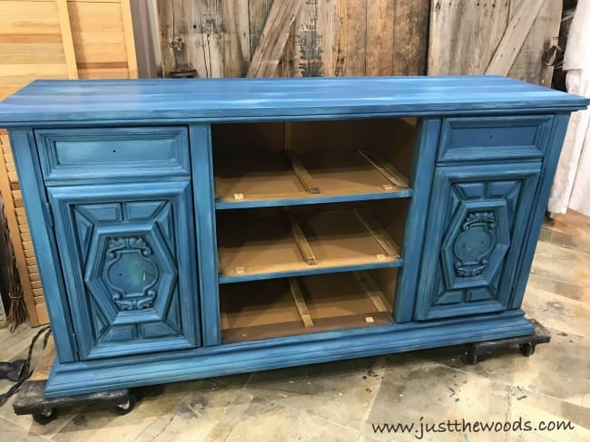 blue buffet, vintage buffet painted blue, layer paint techniques, distressed furniture painting techniques