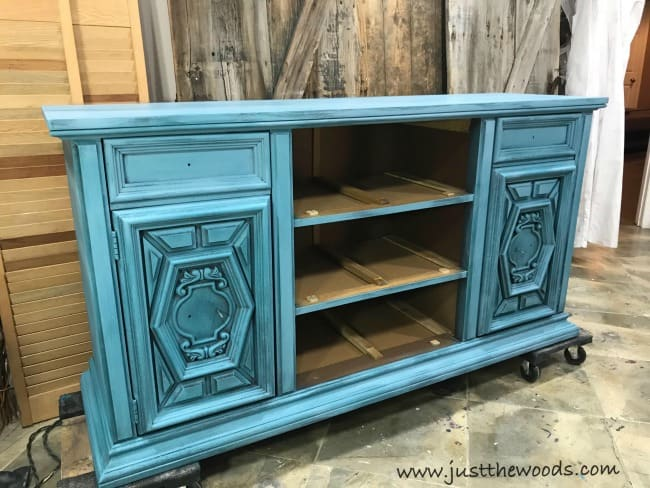 blue painted buffet, blue painted furniture, layered painting techniques