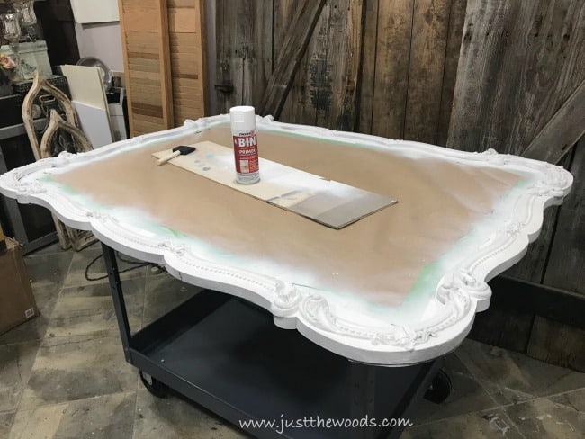 primer for furniture, spray primer, painting ornate mirror