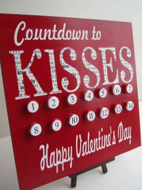valentine projects idea, valentines day countdown, kiss countdown, valentines day crafts for kids