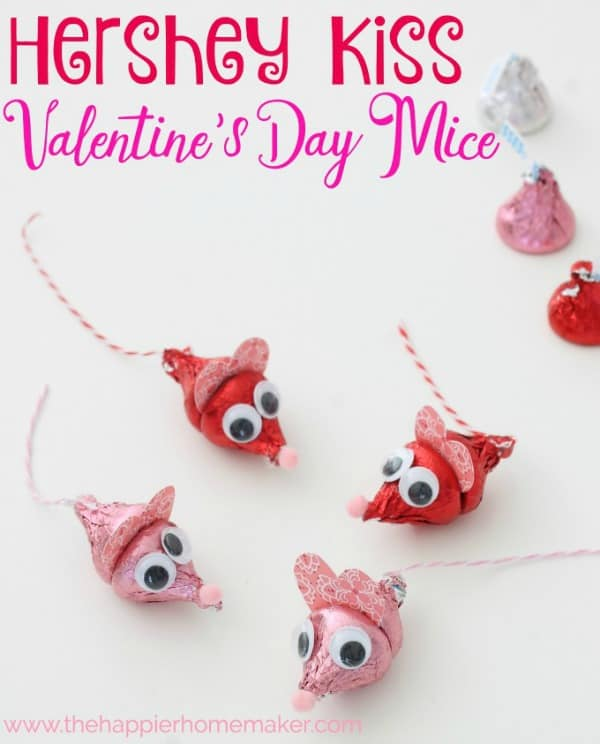 valentines day craft ideas, valentines day hershey kiss mice,