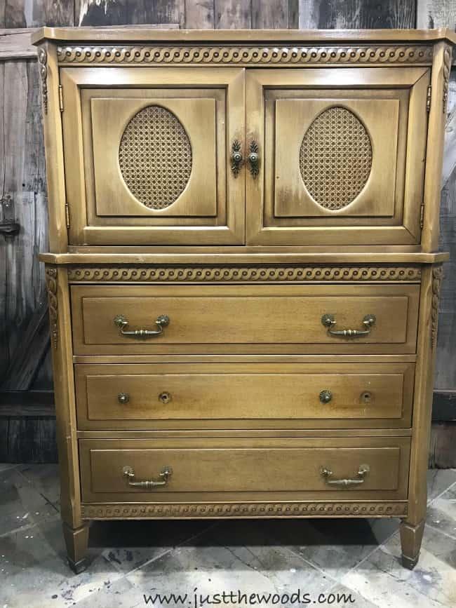 vintage dresser, vintage armoire, tall dresser, wood dresser, cane on dresser