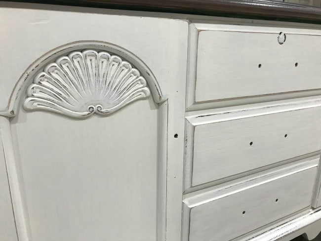 white chalk painted furniture, white painted hope chest, distressed painted furniture