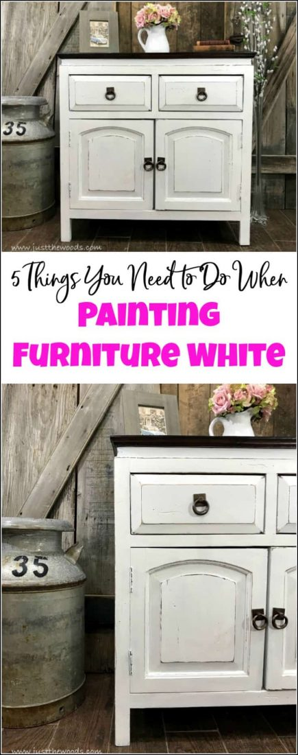 Curious how to paint furniture white? Is there a secret to painting white furniture? This cabinet is given a white painted furniture makeover. Follow these 5 tips to painting furniture white for a result you will love. painted furniture, white painted furniture, furniture painting, white furniture paint, painting wood furniture white, how to paint furniture distressed white.