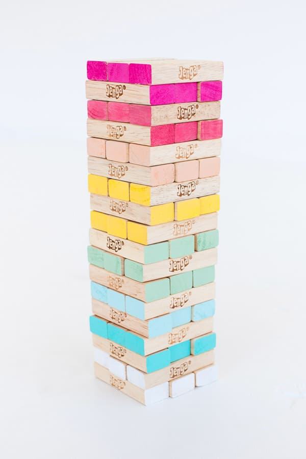 diy jenga, ombre jenga, diy home projects, diy games