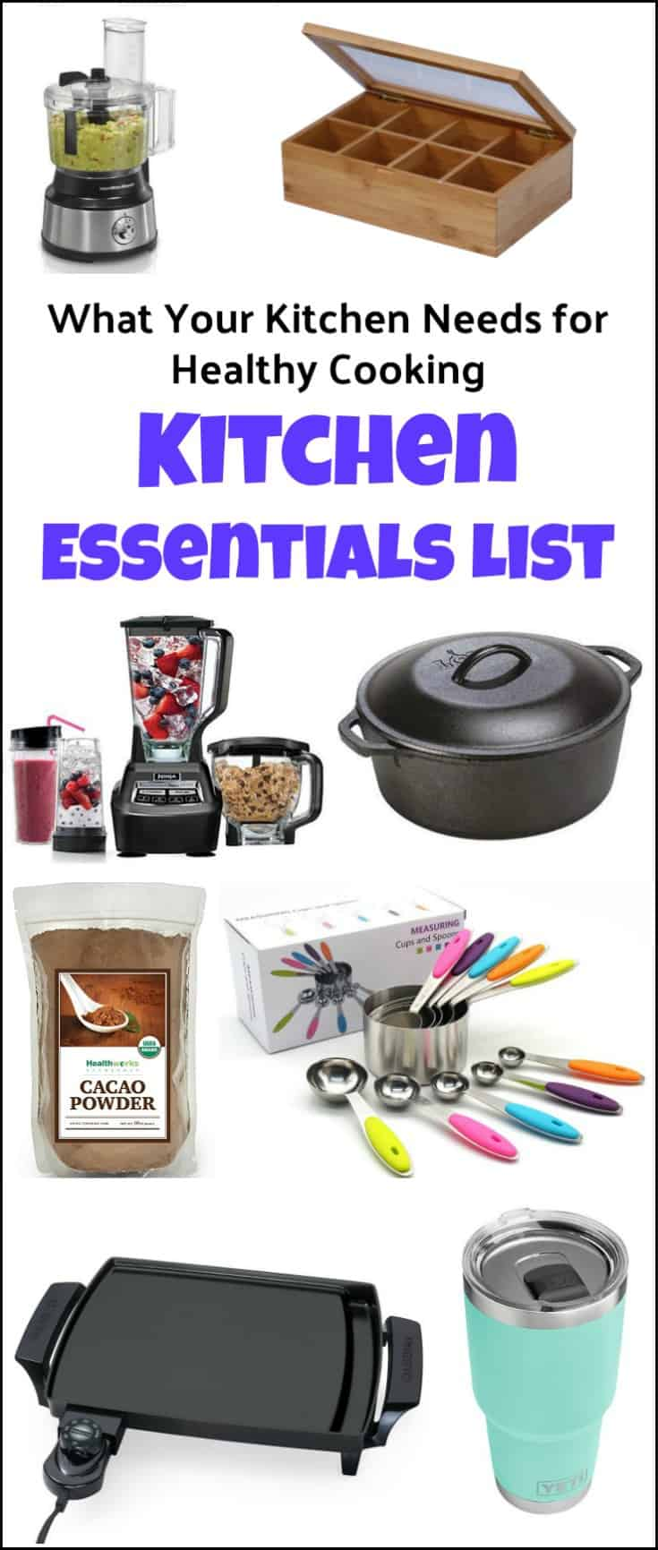 What's in my kitchen? Here is a kitchen essentials list of items that your kitchen needs when preparing healthy clean foods. Ideal for on the go, meal prep, and easy cooking. Kitchen necessities, kitchen items checklist, kitchen supplies list, kitchen essentials, cooking essentials, must have kitchen items list