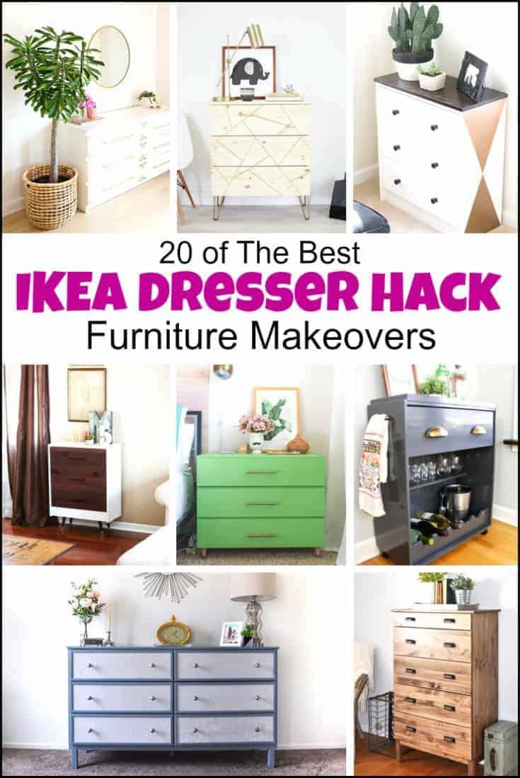 An Ikea dresser hack can transform a piece of basic flat furniture into so much more. Ikea hack ideas, #Ikeadressermakeovers #furniturehacks #dressermakeovers #IkeaMalmdresserhack #Ikeahacksdresser #Ikeahemnesdresserhack #Ikeahackdresser #Ikeadresserhacks #Ikearastdresserhack #Ikearasthack #Ikeapinedresser #DIYdresserideas #dresserideas #paintedfurnituremakeovers #furniturebeforeandafter