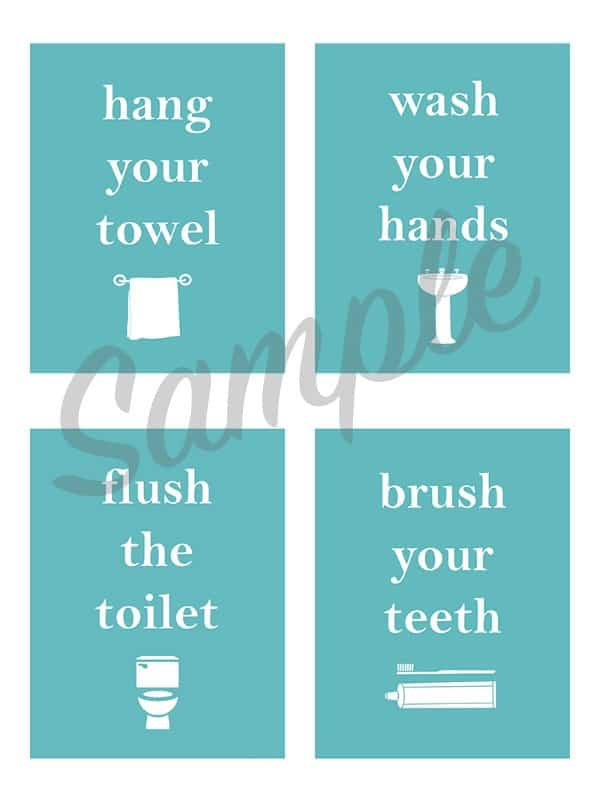 bathroom cleaning, bathroom reminders, bathroom printables, free printables,
