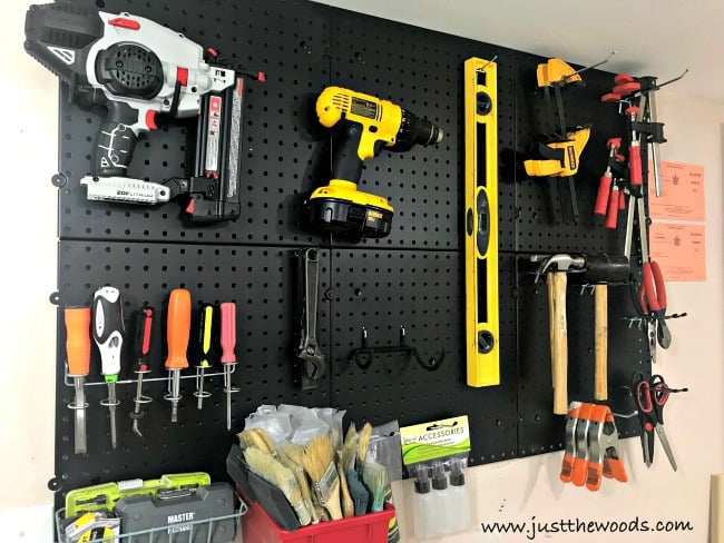 pegboard organizer, organize tools, diy tools, tools for diy, woodworking tools, tools on wall
