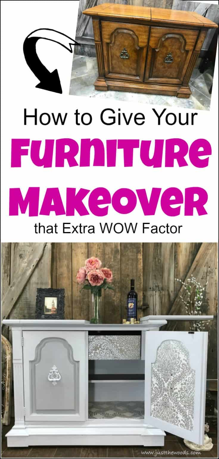 Give your furniture makeover that extra wow factor with wallpaper decoupage. Learn how to make your painted furniture makeovers stand out by adding wallpaper to furniture. Furniture makeover ideas, furniture makeovers, before and after furniture makeovers, DIY furniture makeovers, refurbishing furniture, painted furniture before and after