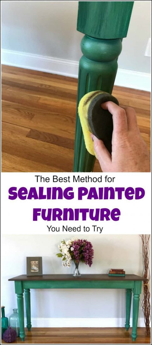 Sealing painted furniture and looking for the best top coat for painted furniture, or how to seal painted furniture? Look no further, this step by step tutorial with video walks you through how to seal painted wood using a sponge applicator. furniture sealant, top coat for painted furniture, clear coat for painted wood, chalk paint top coat