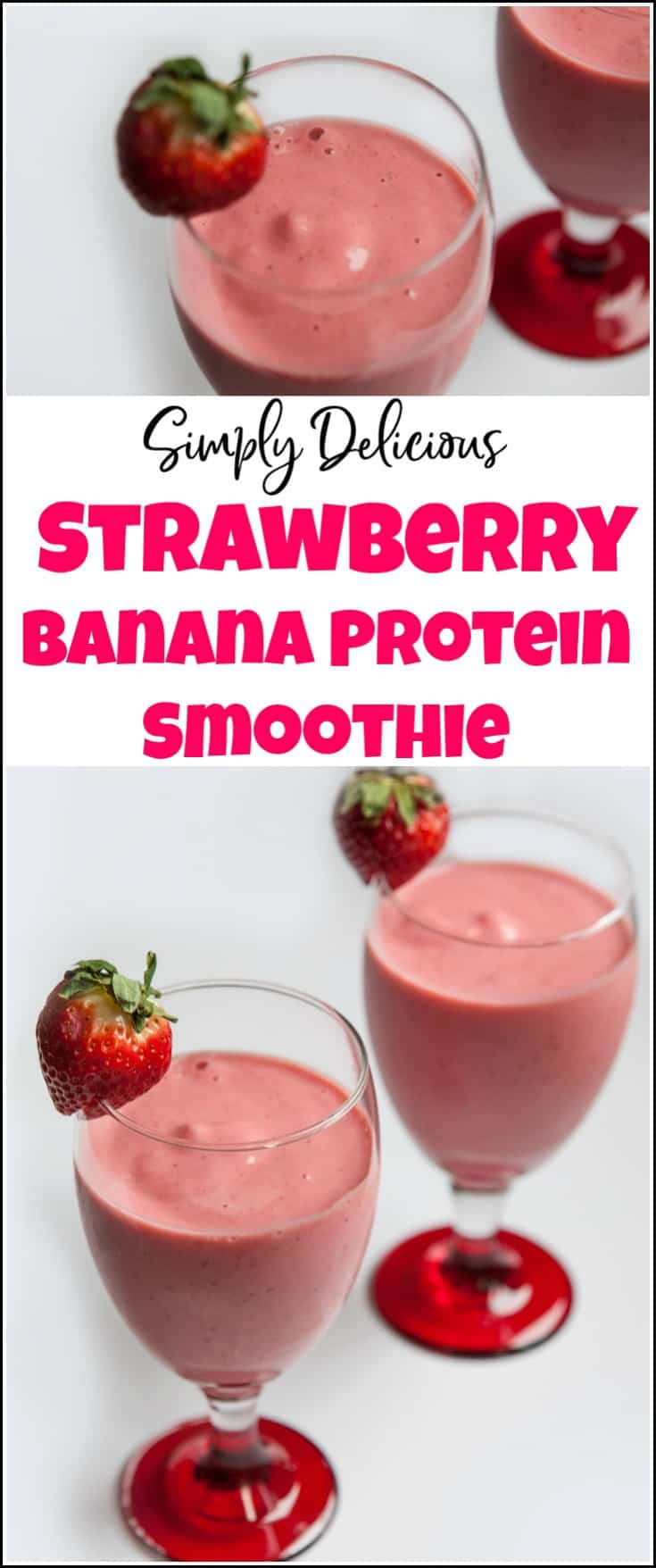 Enjoy this delicious strawberry banana protein smoothie for a snack or breakfast. Healthy and delicious smoothie with protein. This protein fruit smoothie is sure to please your taste buds. strawberry banana protein shake, strawberry protein smoothie, strawberry protein shake recipe, protein smoothie recipe.