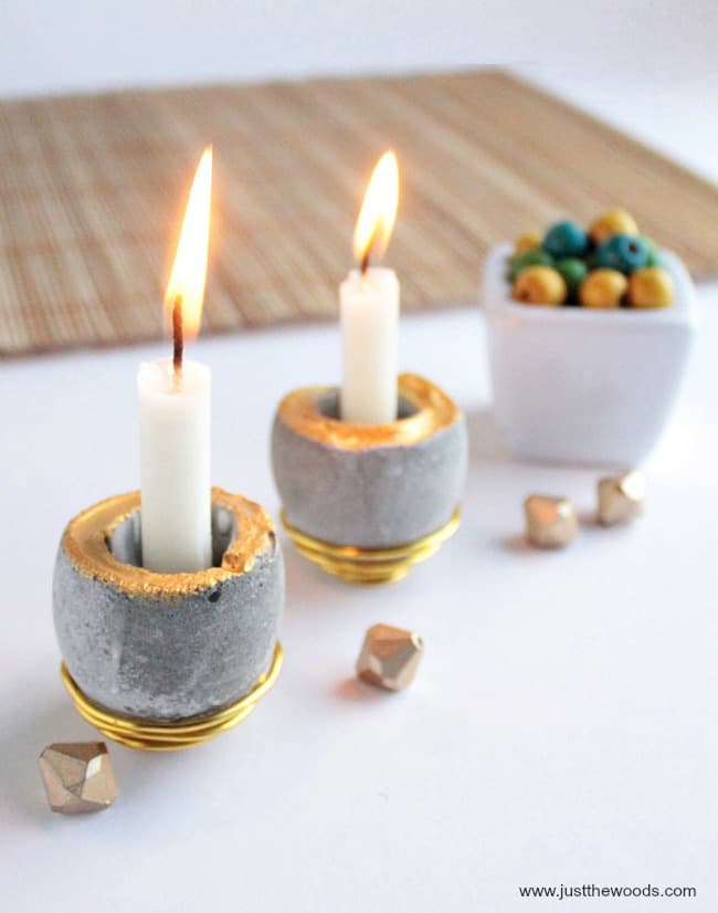 concrete candle holders, DIY Concrete projects, concrete diy