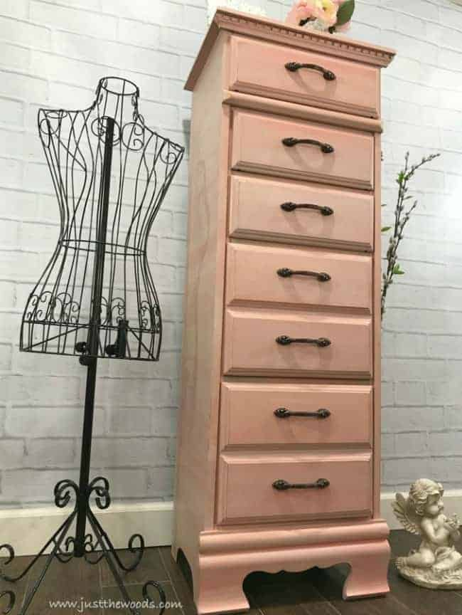 painted lingerie chest, coral painted chest, coral painted furniture