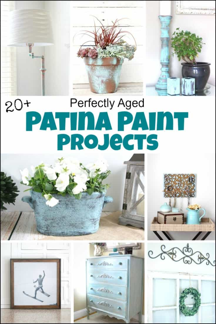 Patina paint projects are perfect for those who love that aged patina effect. Not everyone loves shiny and new. Some of us are more drawn to old things that proudly show their age with a layer of patina. Patina paint can be used to age your furniture, create a worn metallic finish, and even paint crafts for a unique look. Use a patina paint job on your next DIY creation for an aged look. #patinapaint