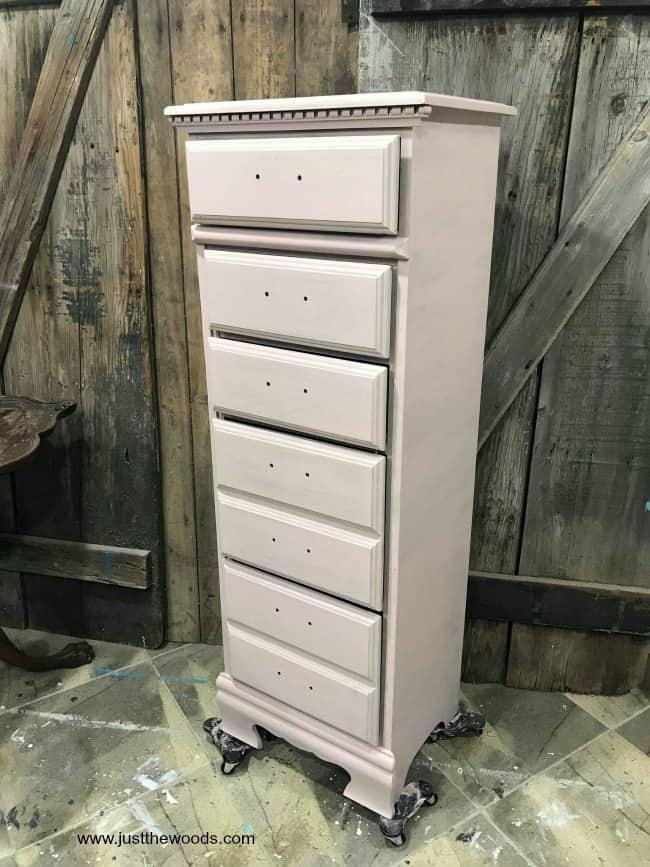 pink chalk paint, tea rose, dixie belle, dixie belle chalk paint, tea rose paint, painted lingerie chest
