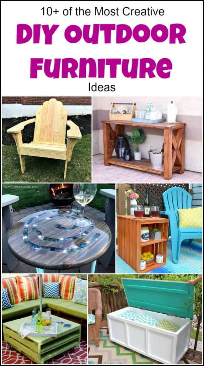 10+ of the Most Creative DIY Outdoor Furniture Ideas to make your yard the place to be. These DIY outdoor furniture projects will give you the best yard on the block. Easy to build outdoor furniture that you can do yourself. #diyoutdoorfurniture #diyoutdoorfurnitureideas #diyoutdoorfurnitureplans #diypatiofurniture #diyoutsidefurniture #homemadeoutdoorfurniture