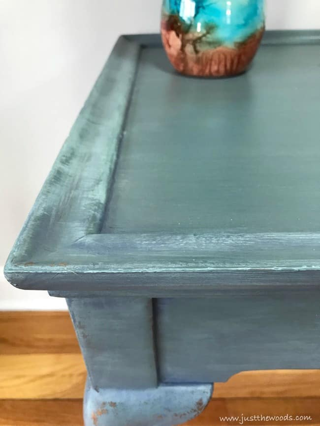 blended chalk paint, chalk painted furniture, blue painted table, coastal painted table