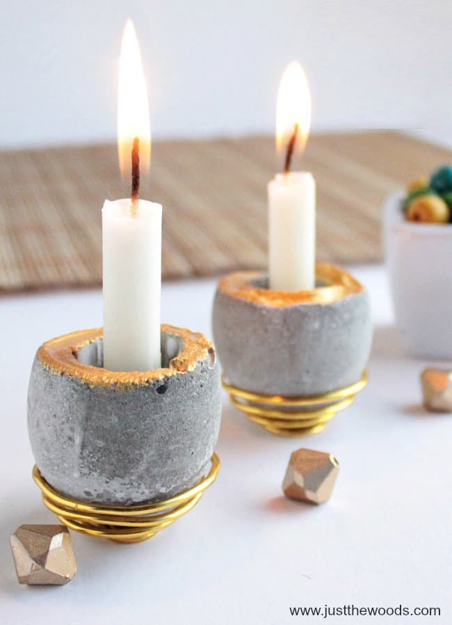 cement molds, how to make concrete candle holders, gold paint, concrete molds