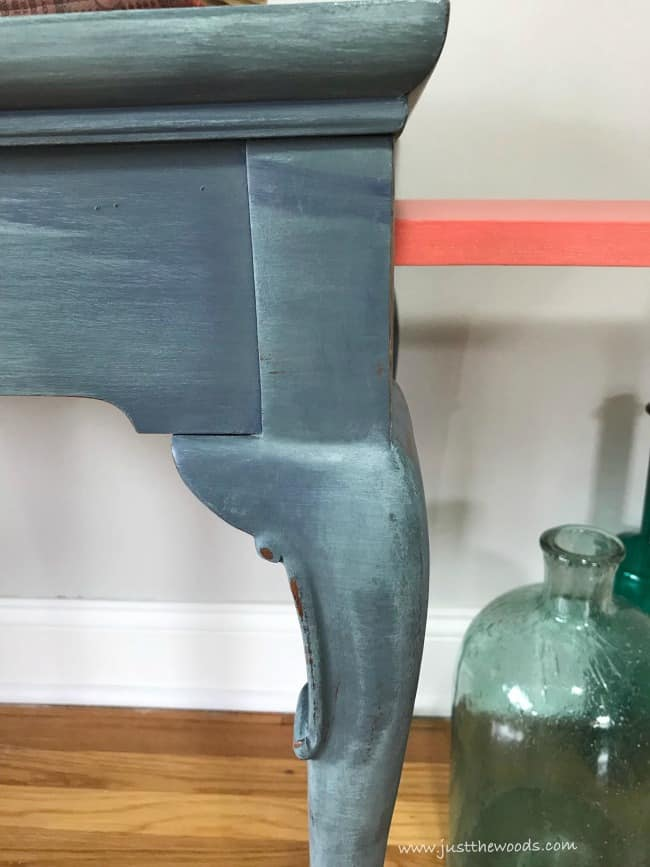pop of color, coral painted drawers, painted tea table
