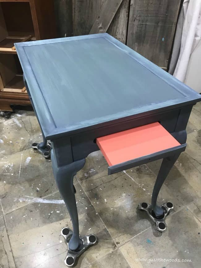 painted table, pop of color, coral drawers, tea table
