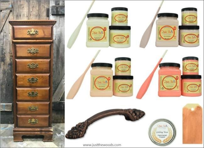 mood board, dixie belle paint, feminine paint colors, vintage lingerie chest