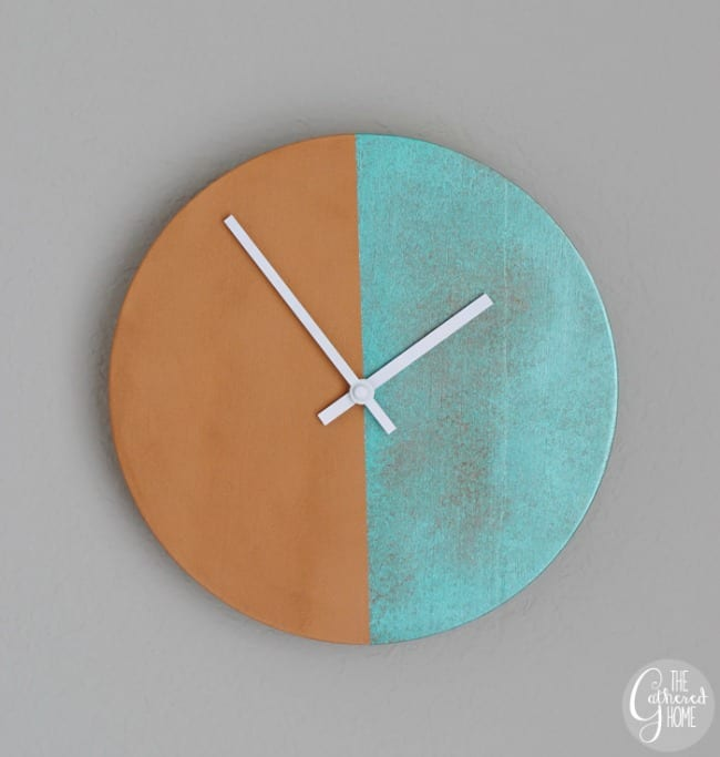 copper and blue patina clock, Patina paint projects are perfect for those who love that aged patina effect. Not everyone loves shiny and new. Some of us are more drawn to old things. Patina paint can be used to age your furniture and create a worn metallic finish. Use a patina paint job on your next DIY creation for a worn aged look. #patinapaint #patinapaintjob #copperpatinapaint