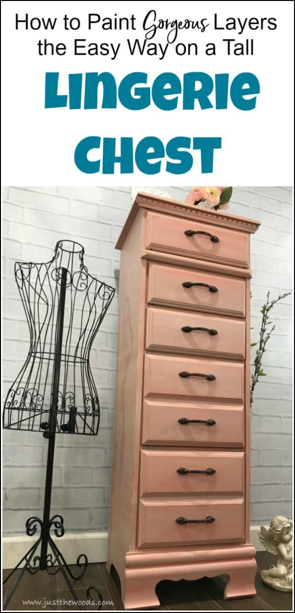 A tall lingerie chest gets a painted furniture makeover with gorgeous painted layers, whitewash and gilding wax. See how this lingerie chest of drawers is transformed with soft layers of coral and apricot by Dixie Belle Paint. Details are accented with bronze gilding wax to compliment the new bronze hardware pulls. #paintedfurniture #lingeriechest #lingeriedresser #paintedlayers #gildingwax #furnituremakeover #dixiebellepaint #dlawlesshardware