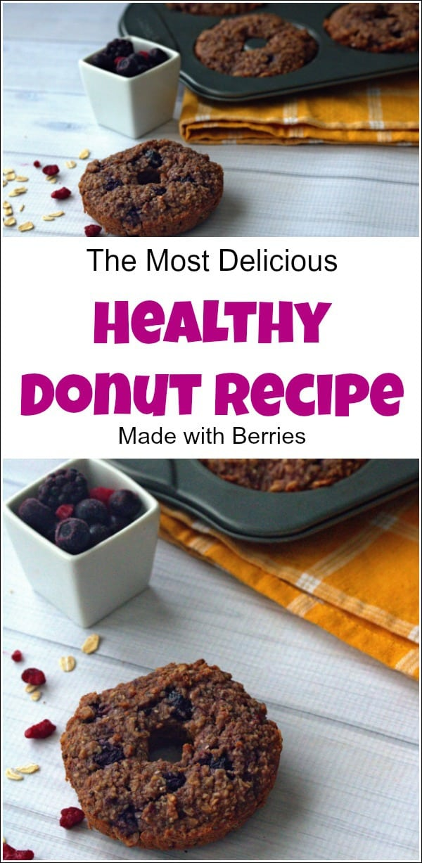 Get your sweets for the day with this healthy donut recipe. When you are trying to stay fit and trim you can still enjoy delicious treats with these healthy donuts. Made with berries and oats you won't even notice that they are good for you too. This healthy baked donut recipe will leave you wanting more. #healthydonuts #healthydonutrecipe # cleaneating #healthysnacks #healthybakeddonuts