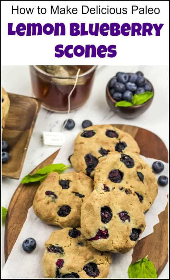 This healthy lemon blueberry scones recipe is paleo friendly and gluten free. These blueberry lemon scones are also delicious and easy to make. See how to make blueberry scones the easy way for a healthy breakfast or afternoon snack. A few simple ingredients for scones to make the best blueberry scones with lemon. #blueberrylemonscones #paleoscones #lemonbluberryscones #easybluberryscones