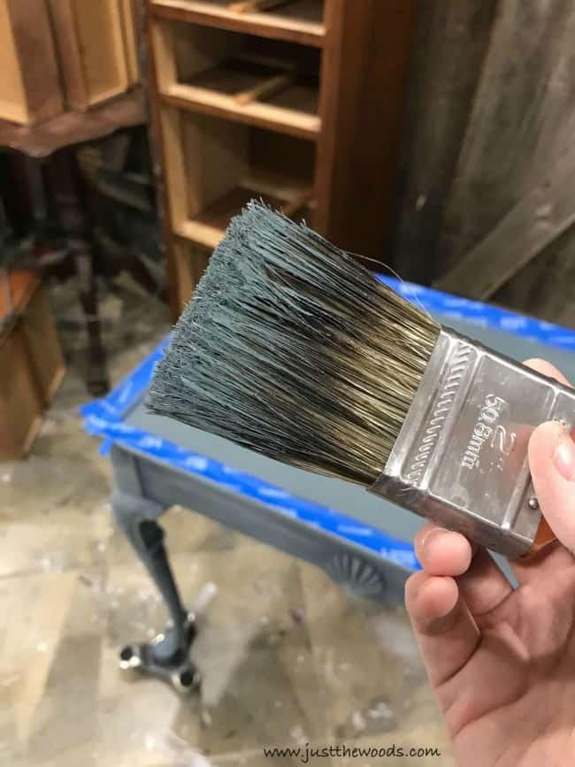 old paintbrush, painted tea table