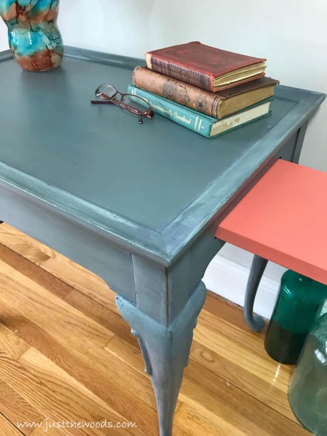 worn painted furniture, distressed painted table, coral chalk paint