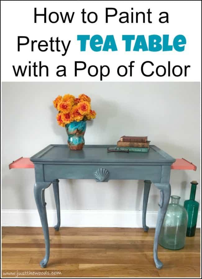 tea table makeover, painted tea table, coastal painted table