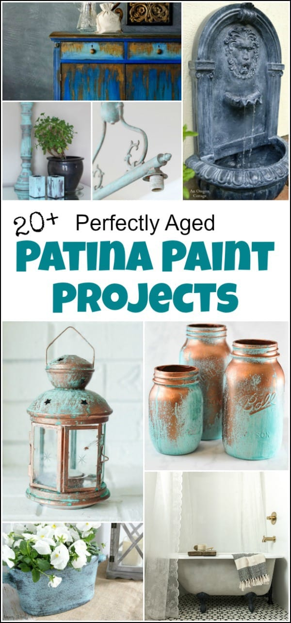 Patina paint projects are perfect for those who love that aged patina effect. Not everyone loves shiny and new. Some of us are more drawn to old things. Patina paint can be used to age your furniture and create a worn metallic finish. Use a patina paint job on your next DIY creation for a worn aged look. #patinapaint #patinapaintjob #copperpatinapaint