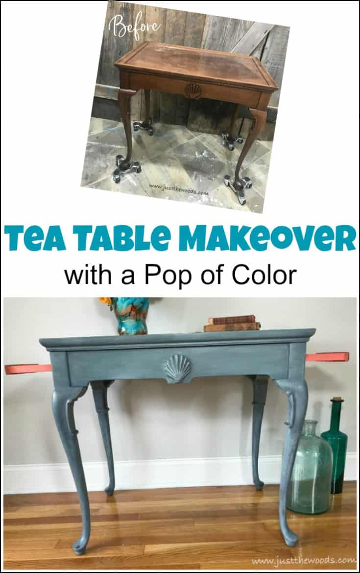 Make your painted furniture projects stand out with a pop of color. This tea table makeover combines a blended and layered painted furniture technique with a bold pop of coral on the drawers. #paintedfurniture #paintedteatable #teatablemakeover #paintedtable #chalkpaintedfurniture