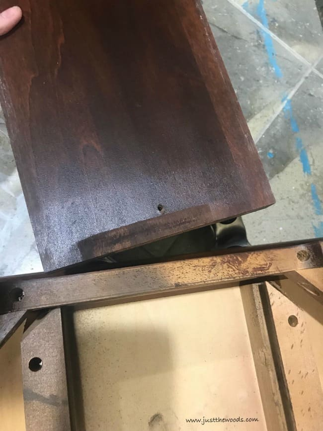 remove drawers, wooden side table, vintage table
