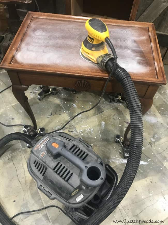 sanding inside, sand wood table, orbital sander, table makeover