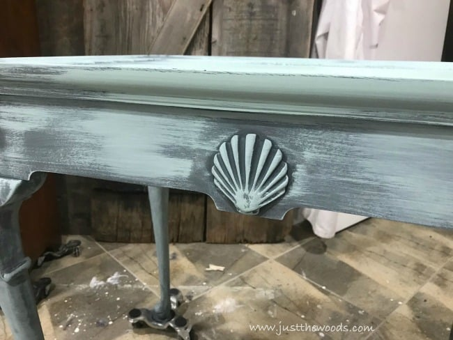 dixie belle paint, sea glass chalk paint, seashell wood table