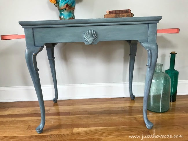 painted tea table, chalk painted table, tea table makeover
