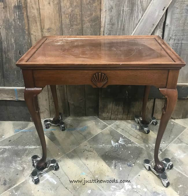 vintage tea table, unfinished tea table, table with side drawers