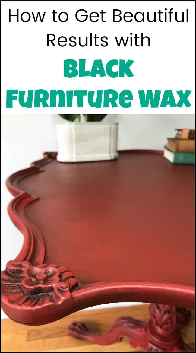 Get gorgeous results with black furniture wax on your painted furniture. See how to apply furniture wax to make those details pop. Antiquing painted furniture with furniture wax creates a dramatic effect like on this painted claw foot table. Applying furniture wax really brings out the details.#paintedfurniture #paintedfurniturebeforeandafter #furnituremakeover #furniturewax #blackfurniturewax