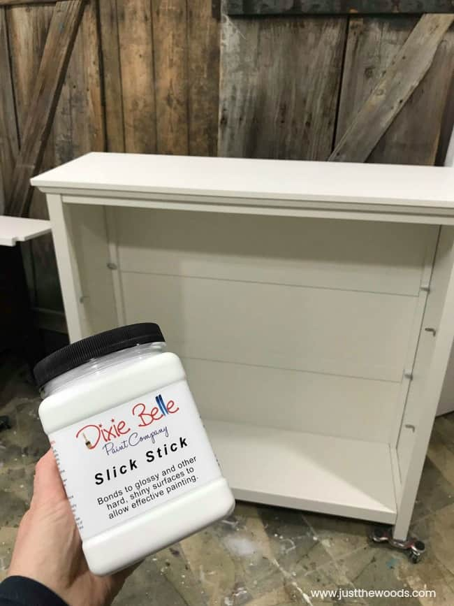 slick stick, primer, furniture primer, painting laminate furniture, refinishing laminate furniture