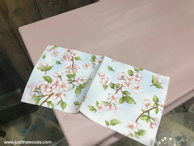 floral napkin decoupage, pink chalk paint, pink painted vanity, little girls vanity, vanity makeover, makeup vanity, painted vanity ideas