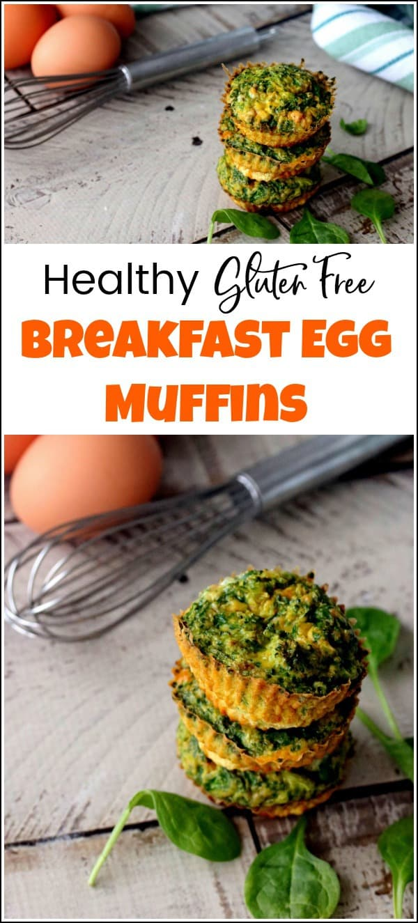 Healthy breakfast egg muffins make the perfect quick and easy food when on the go. They are also perfect for kids as they run out the door. These healthy breakfast egg muffins with spinach are also gluten-free for those looking for a wheat free breakfast egg muffins recipe. #healthybreaksfasteggmuffins #eggmuffinrecipe #glutenfreebreakfast