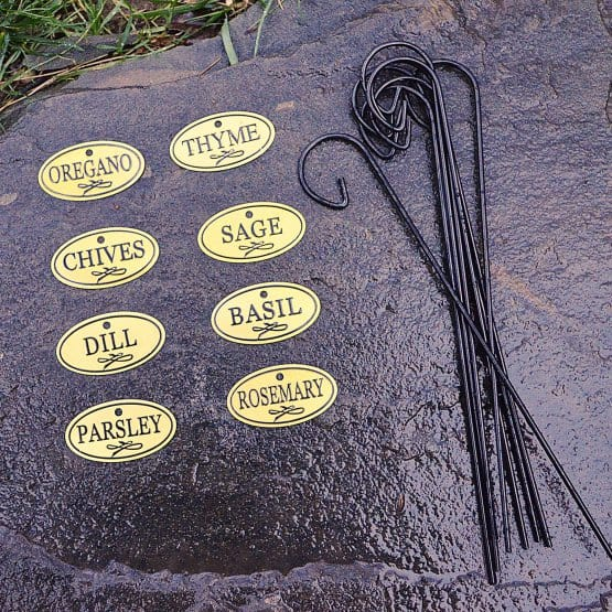 brass herb tags, herb garden markers