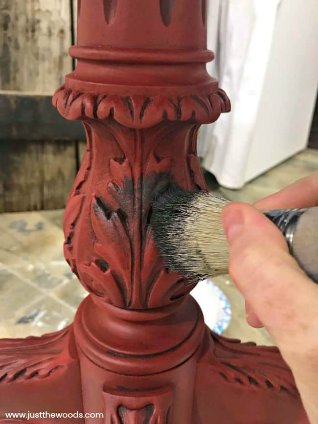 black glaze over red paint, applying furniture wax, how to wax painted furniture, waxing furniture